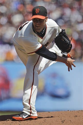 San Francisco Giants' Ryan Vogelsong works against the Pittsburgh Pirates during the first inning of a baseball game Sunday, April 15, 2012, in San Francisco. (AP Photo/Ben Margot)