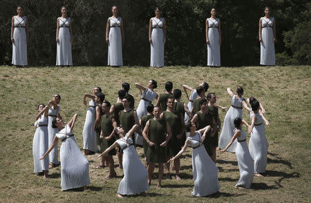 The dress rehearsal for the Olympic flame lighting ceremony for the Rio 2016 Olympic Games takes place at the site of ancient Olympia in Greece. REUTERS/Alkis Konstantinidis