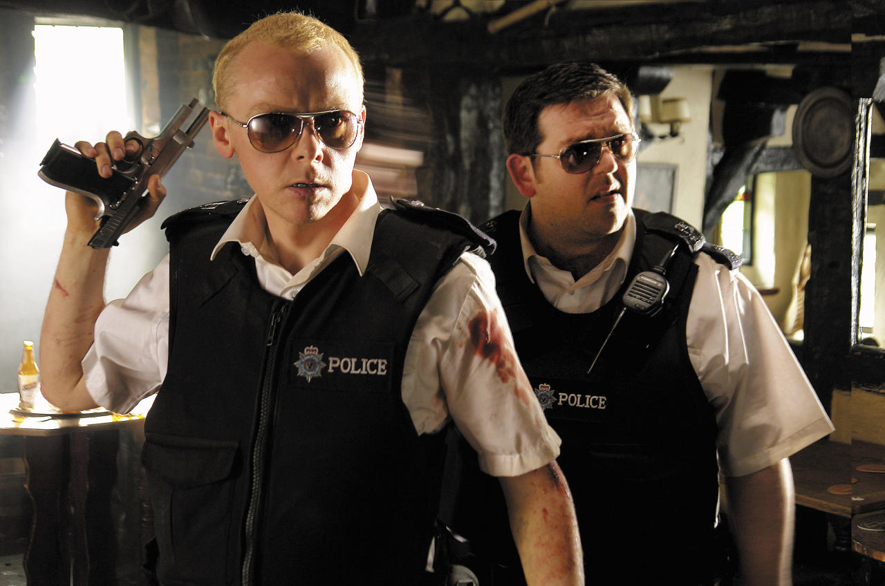 HOT FUZZ, Simon Pegg, Nick Frost, 2007. ..Rogue Pictures/courtesy Everett Collection