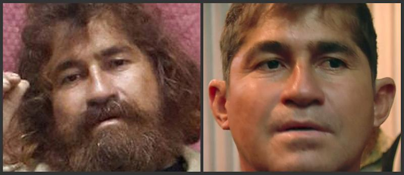 This photo combo shows a man identifying himself as Jose Salvador Alvarenga, in Majuro, Marshall Islands. At left, Alvarenga is seen Feb. 3, 2014, after he was rescued from being washed ashore on the tiny atoll of Ebon in the Pacific Ocean, after he says he spent more than a year drifting across the Pacific Ocean before making landfall in the Marshall Islands. At right, Alvarenga is seen at the airport in Majuro, Monday, Feb. 10, 2014, before flying home. (AP Photo)