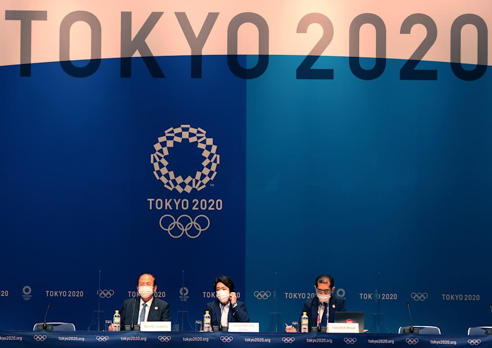 Tokyo Organizing Committee of the Olympic and Paralympic Games Tokyo 2020 president Hashimoto Seiko C and Tokyo 2020 CEO Muto Toshiro L attend a press conference at the Main Press Center of Tokyo 2020 in Tokyo, Japan, July 20, 2021. (Photo by Jia Haocheng/Xinhua via Getty Images)