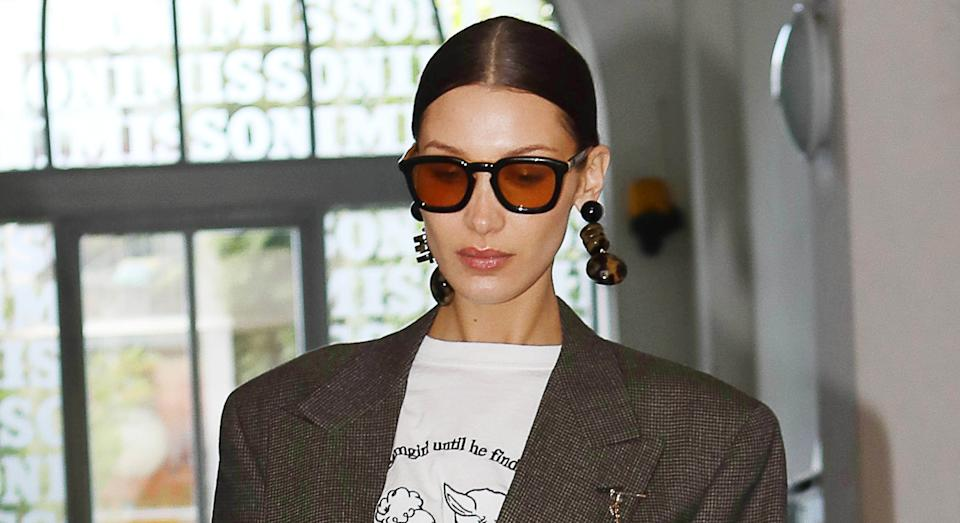 Bella Hadid has been posting images of her sunny getaway from an undisclosed location. (Getty Images)