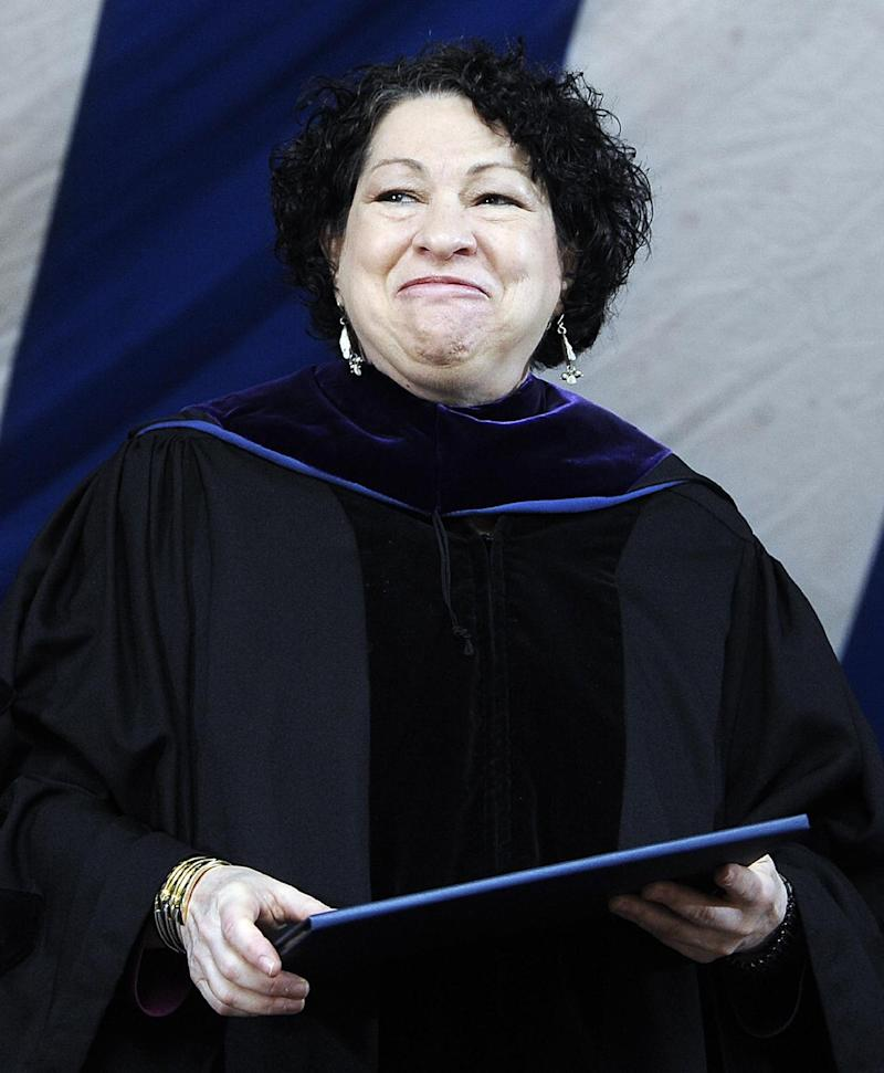 In this May 20, 2013, photo, Supreme Court Justice Sonia Sotomayor smiles after receiving a Honorary Doctor of Laws during commencement at Yale University in New Haven, Conn. Among her messages to graduates of Yale Law School, where Sotomayor received her law degree in 1979: A justice's life isn't all glamour.  (AP Photo/Jessica Hill)