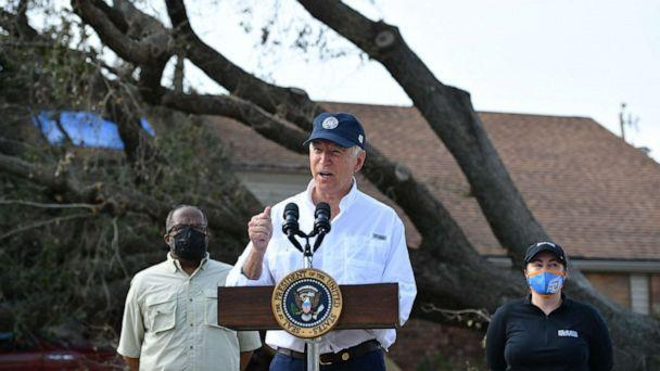 PHOTO: President Joe Biden delivers remarks after touring the Cambridge neighborhood affected by Hurricane Ida, in LaPlace, La., on Sept. 3, 2021. (Mandel Ngan/AFP via Getty Images, FILE)
