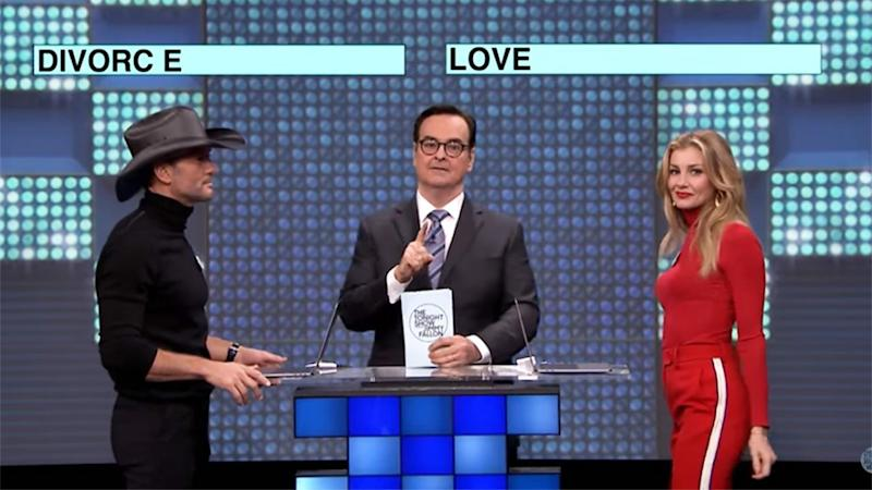 Faith Hill and Tim McGraw Separately Answer 'Love' and 'Divorce' to This Question on 'The Tonight Show'