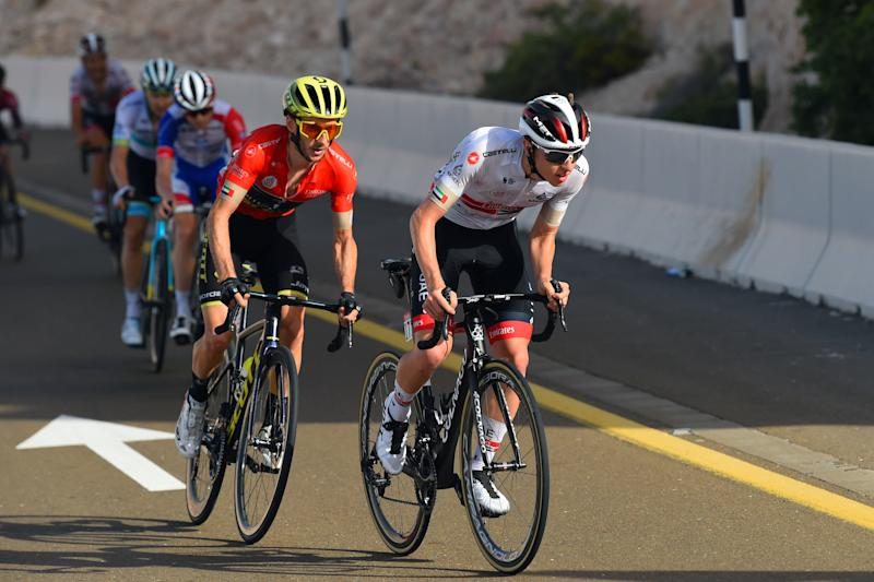 Tadej Pogacar attacks Adam Yates at the UAE Tour