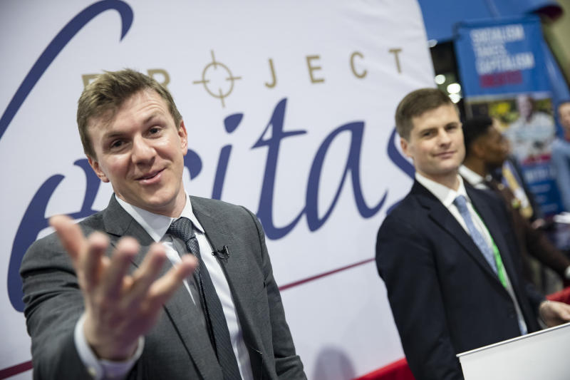 James OKeefe, an American conservative political activist and founder of Project Veritas, meets with supporters during the Conservative Political Action Conference 2020 (CPAC) hosted by the American Conservative Union on February 28, 2020 in National Harbor, MD. (Samuel Corum/Getty Images)