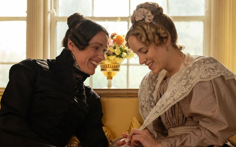 Suranne Jones as Anne Lister and Sophie Rundle as Ann Walker - WARNING: Use of this copyright image is subject to the terms of use of BBC Pictures' Digital Picture