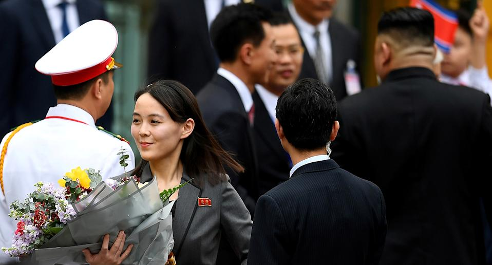 Kim Yo-jong, sister of North Korean leader Kim Jong-un, arrives for the welcoming ceremony at the Presidential Palace in Hanoi, Vietnam March 1, 2019. Source: Reuters