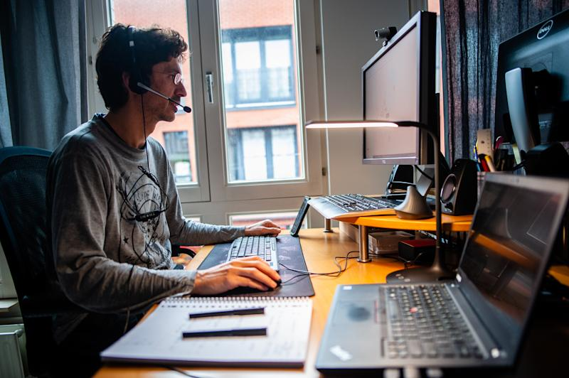 A man from a company based in North Brabant is working from home during the Coronavirus crisis in The Netherlands, on March 13th, 2020. (Photo by Romy Arroyo Fernandez/NurPhoto via Getty Images)