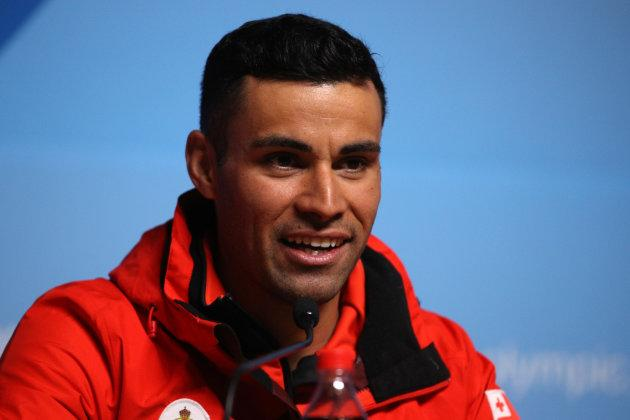 Tongan cross country skier Pita Taufatofua speaks during a press conference at the Main Press Centre during the PyeongChang 2018 Winter Olympic Games on Feb. 14, 2018 in Pyeongchang-gun, South Korea.