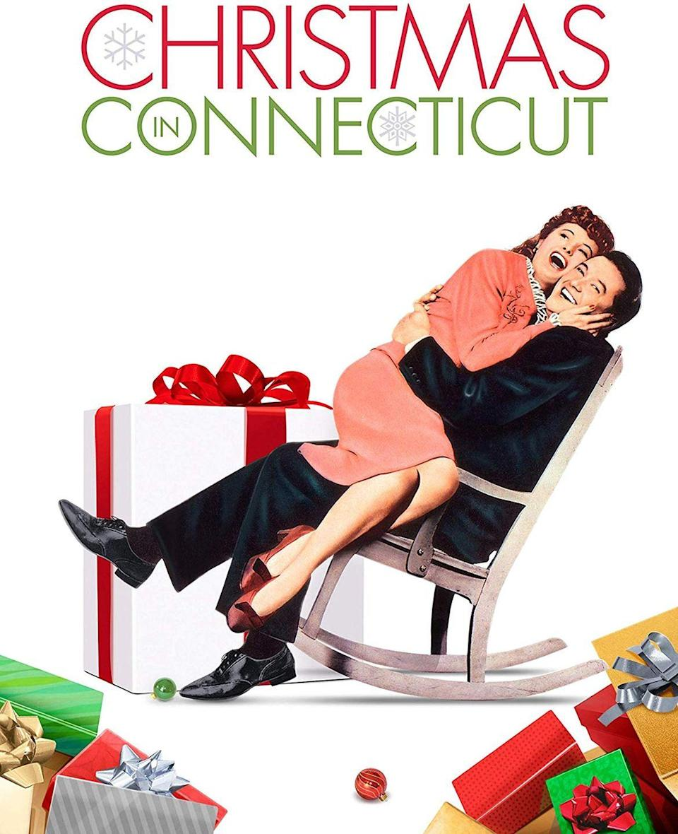 """<p>Barbara Stanwyck stars in this 1945 romantic comedy about a writer who lies about her perfect (and fictitious) life in the country in her articles. She must figure out how to cover her tracks when her boss and a returning war hero invite themselves over for Christmas dinner.</p><p><a class=""""link rapid-noclick-resp"""" href=""""https://www.amazon.com/Christmas-Connecticut-Barbara-Stanwyck/dp/B00316WYGI/?tag=syn-yahoo-20&ascsubtag=%5Bartid%7C10055.g.1315%5Bsrc%7Cyahoo-us"""" rel=""""nofollow noopener"""" target=""""_blank"""" data-ylk=""""slk:WATCH NOW"""">WATCH NOW</a></p>"""