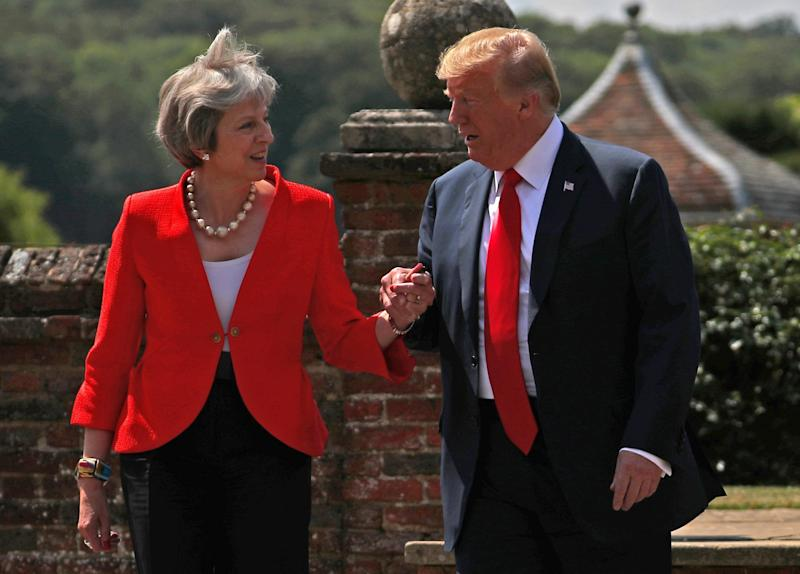 File photo: President Trump with Mrs May on his last UK visit (Hannah McKay/Reuters)