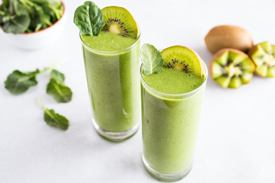 <p>When you really need to eat your greens, go for this smoothie that packs both kale and spinach into every sip. Kiwi and dates add natural sweetness, and almond butter and almond milk keep you full.</p>
