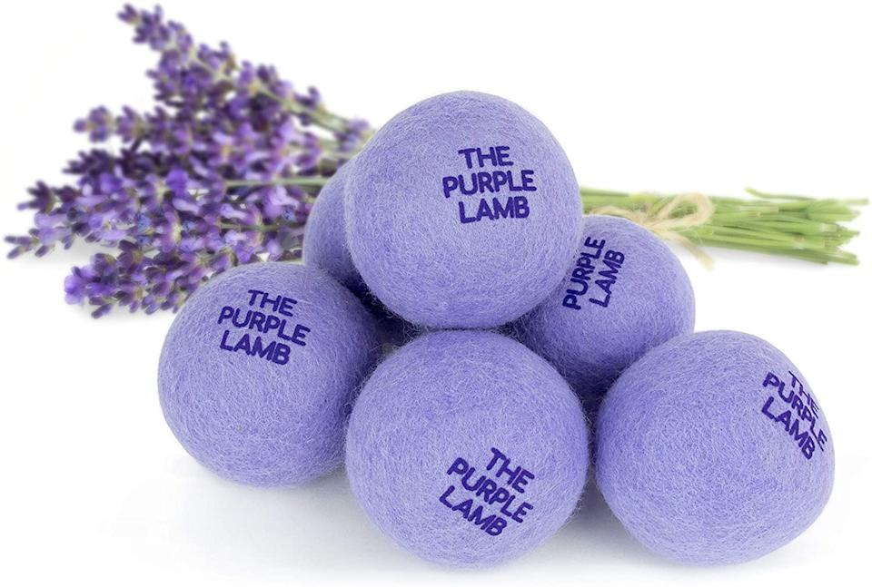 The Purple Lamb Scented Wool Dryer Balls (Photo via Amazon)