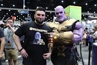 <p>Cosplayer dressed as Thanos from Avengers at Comic-Con International on July 21, 2018, in San Diego. (Photo: Angela Kim/Yahoo Entertainment) </p>