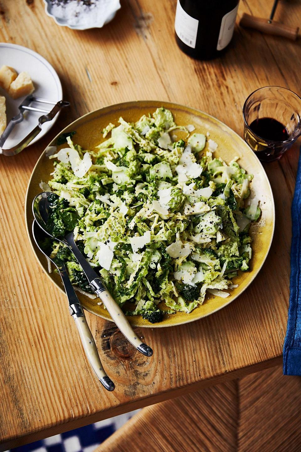 """You've never met a better, brighter riff on the classic Caesar than this raw broccoli and Napa cabbage twist. Just remember that while the stems are tender and delicious, it's important to cut away the dried-out base and peel the tough skin of thicker ones. <a href=""""https://www.bonappetit.com/recipe/broccoli-caesar?mbid=synd_yahoo_rss"""" rel=""""nofollow noopener"""" target=""""_blank"""" data-ylk=""""slk:See recipe."""" class=""""link rapid-noclick-resp"""">See recipe.</a>"""