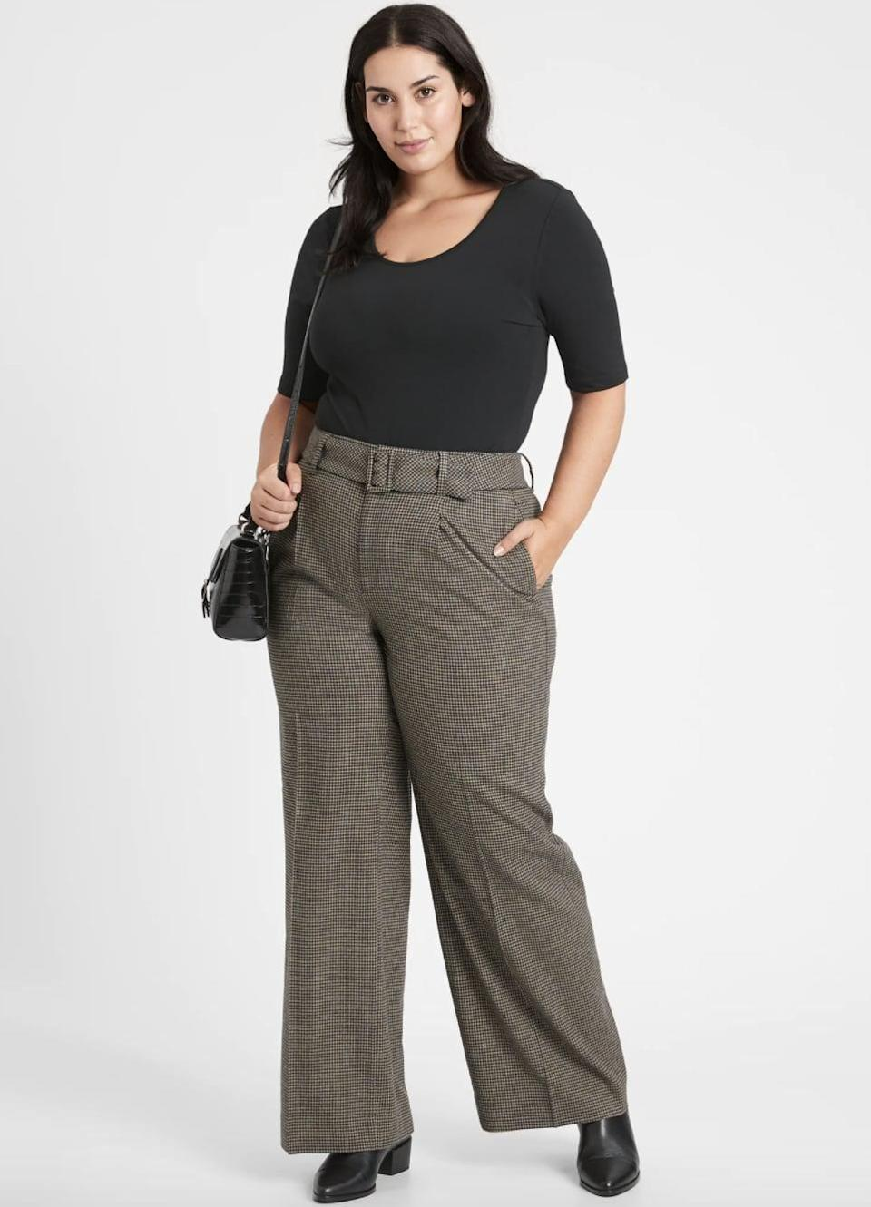 <p>Plaid pants are always a good idea in our book. We love wide-leg silhouette, and belted detail on these <span> Banana Republic High-Rise Slim Flannel Pants </span> ($47, originally $119).</p>