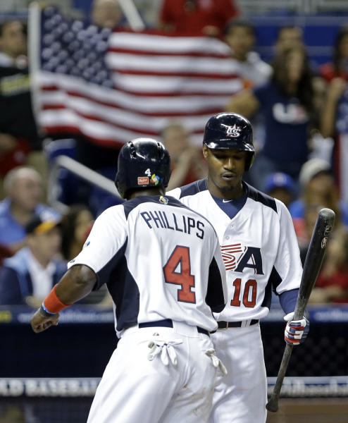United States' Brandon Phillips (4) is congratulated by Adam Jones (10) after scoring on a walk to Eric Hosmer with the bases loaded by Dominican Republic's Samuel Deduno during the first inning of a second-round game of the World Baseball Classic in Miami, Thursday, March 14, 2013. (AP Photo/Wilfredo Lee)