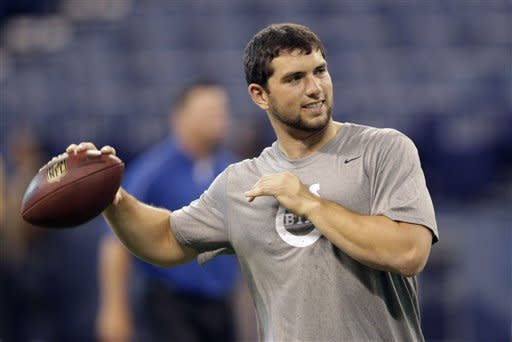 Indianapolis Colts quarterback Andrew Luck warms up before an NFL preseason football game against the St. Louis Rams in Indianapolis, Sunday, Aug. 12, 2012. (AP Photo/AJ Mast)