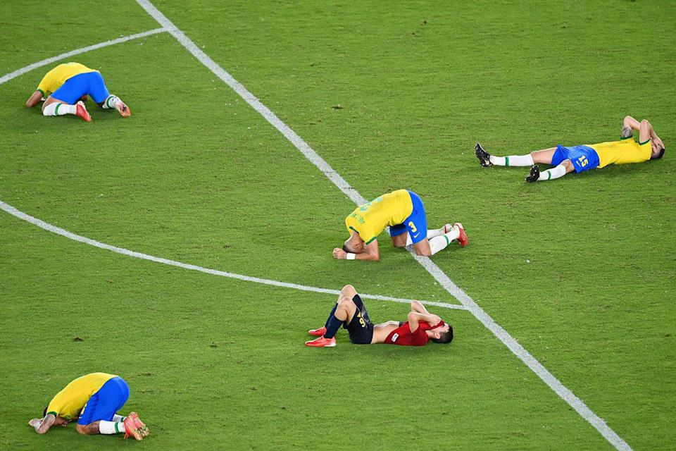 <p>As did the rest of Team Brazil, who fell to the ground following their win. </p>