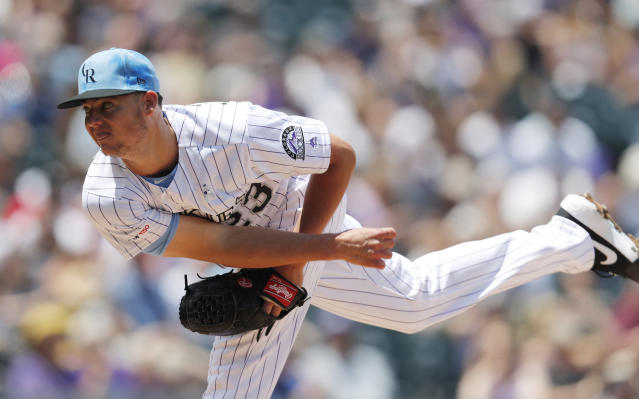 Colorado Rockies starting pitcher Peter Lambert works against the San Diego Padres in the first inning of a baseball game Sunday, June 16, 2019, in Denver. (AP Photo/David Zalubowski)
