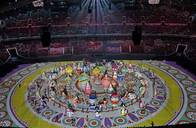 Characters perform during the opening ceremony of the 2014 Winter Olympics in Sochi, Russia, Friday, Feb. 7, 2014. (AP Photo/David J. Phillip )