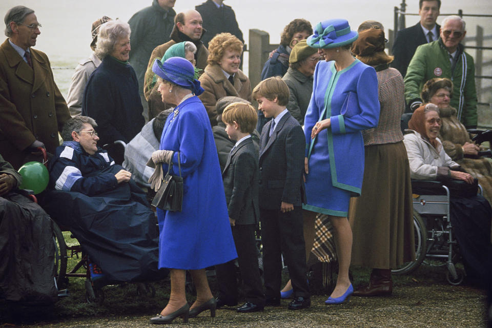 <p>The Queen Mother and Princess Diana (seen greeting locals with Prince Harry and Prince William) clearly got the memo that it would be a blue Christmas.</p>
