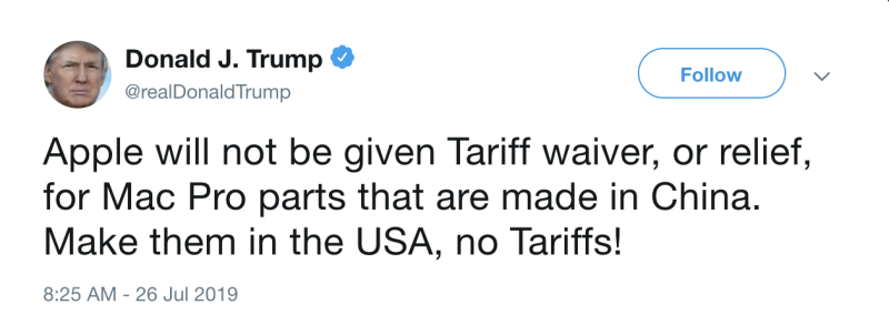 President Trump's tweet remarks on Apple's request for tariff waivers.