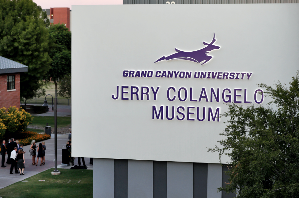 In this Wednesday, Sept. 20, 2017 photo, guests arrive at the grand opening of the Jerry Colangelo Museum at Grand Canyon University in Phoenix. (AP/Matt York)