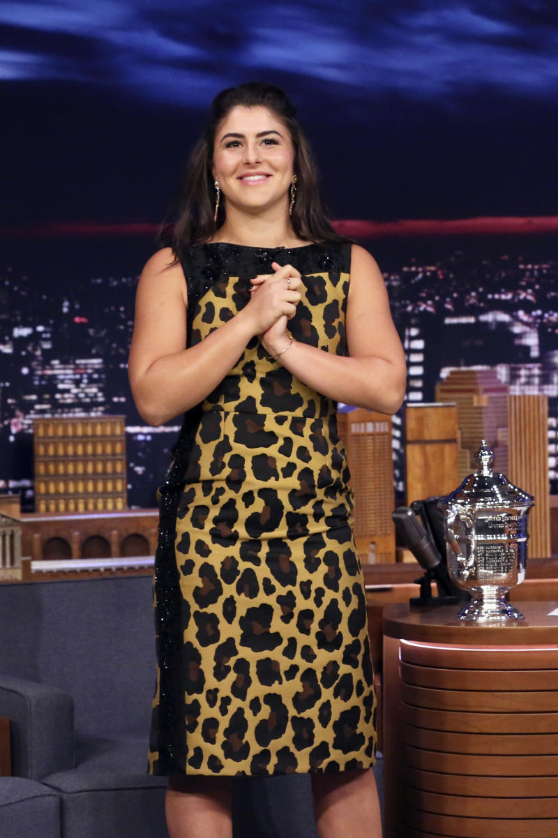 THE TONIGHT SHOW STARRING JIMMY FALLON -- Episode 1115 -- Pictured: US Open Women's Singles champion Bianca Andreescu arrives to the show on September 9, 2019 -- (Photo by: Andrew Lipovsky/NBC/NBCU Photo Bank via Getty Images)