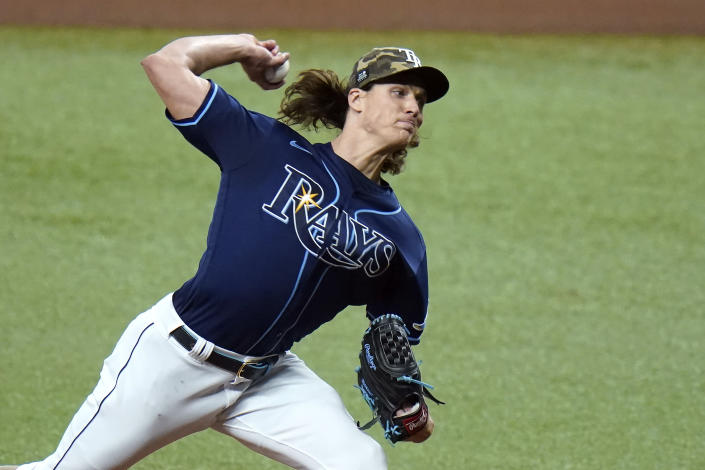 Tampa Bay Rays' Tyler Glasnow pitches to the New York Mets during the first inning of a baseball game Friday, May 14, 2021, in St. Petersburg, Fla. (AP Photo/Chris O'Meara)