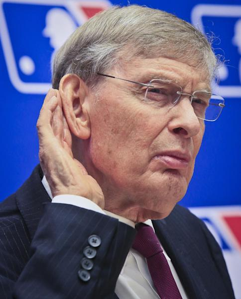 Baseball Commissioner Bud Selig listens during a press conference, Thursday, May 15, 2014 at Major League Baseball headquarters in New York. Selig, who has headed baseball since 1992 and plans to retire in January 2015, announced that St. Louis Cardinals chairman Bill DeWitt was appointed chairman of a succession committee to determine the process for his replacement. (AP Photo/Bebeto Matthews)