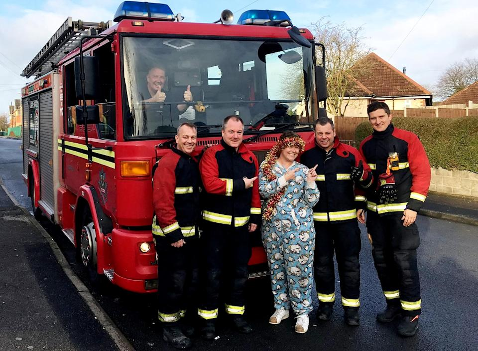 <em>Lucky escape – Stacielea didn't suffer any injuries when she got stuck in her onesie (Picture: SWNS)</em>
