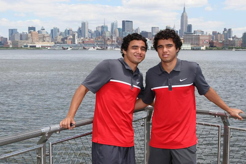 NEW JERSEY, NJ - JULY 27: Rafael da Silva (L) and Fabio da Silva of Manchester United pose in front of the New York skyline as part of their pre-season tour of the USA on July 27, 2011 in New Jersey. (Photo by John Peters/Manchester United via Getty Images)