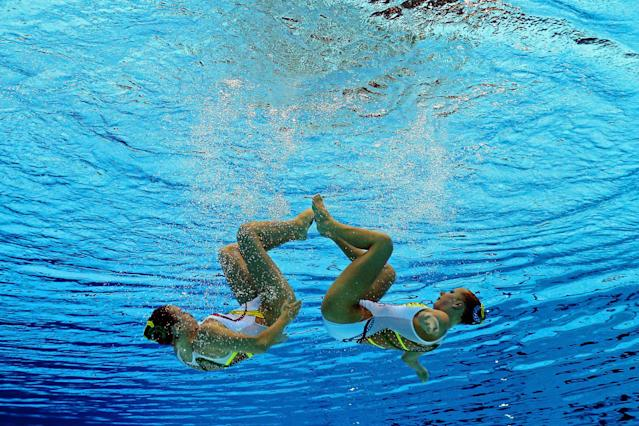 Mary Killman and Mariya Koroleva of the United States compete in the Women's Duets Synchronised Swimming Free Routine Preliminary on Day 10 of the London 2012 Olympic Games at the Aquatics Centre on August 6, 2012 in London, England. (Photo by Clive Rose/Getty Images)