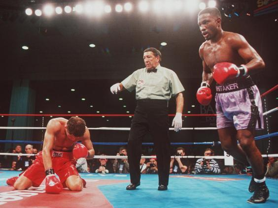Whitaker knocks out Jake Rodriguez during the sixth round of their 1995 championship bout (Getty)