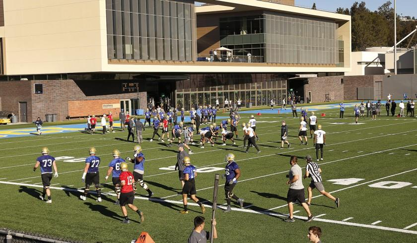 The UCLA Bruins football team on Spaulding Field on the campus of UCLA in Westwood on Tuesday, March 6, 2018.