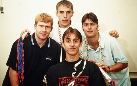 Ben Thornley with Paul Scholes and the Neville brothers - Credit: getty images