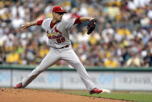 St. Louis Cardinals pitcher Joe Kelly (58) delivers during the second inning of a baseball game against the St. Louis Cardinals in Pittsburgh Sunday, Sept. 1, 2013. (AP Photo/Gene Puskar)