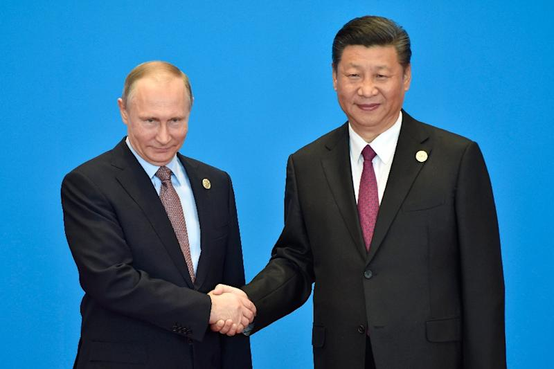 Russian President Vladimir Putin (L) praised his Chinese counterpart Xi Jinping's Silk Road initiative, which spans 65 countries representing 60 percent of the world population and around a third of global gross domestic product (AFP Photo/Kenzaburo FUKUHARA)