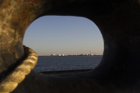 A general view of an oil dock is seen from a ship at the port of Kalantari in Iran January 17, 2012.