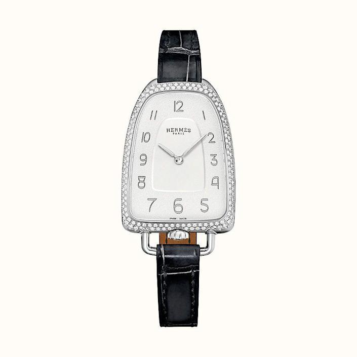 """<p><strong>HERMÈS</strong></p><p>hermes.com</p><p><strong>$9250.00</strong></p><p><a href=""""https://www.hermes.com/us/en/product/galop-d-hermes-watch-40.8-x-26mm-W047886WW00/"""" rel=""""nofollow noopener"""" target=""""_blank"""" data-ylk=""""slk:Shop Now"""" class=""""link rapid-noclick-resp"""">Shop Now</a></p><p>The next gen Hermès watch, Galop d'Hermes watch, 40.8 x 26 mm, for the classic girl who likes that new, new, too.</p>"""