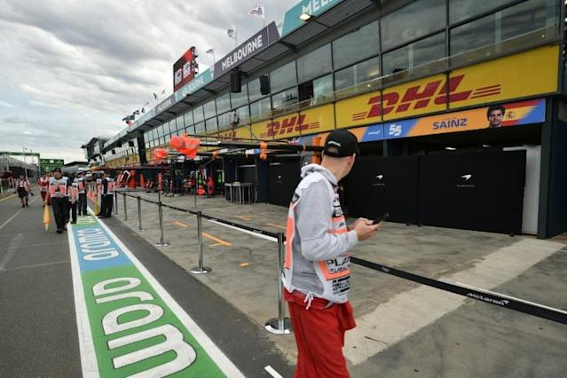 The McLaren garage boarded up at the cancelled Australian Grand Prix (AFP Photo/Peter PARKS )