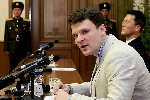 <p>U.S. student Otto Warmbier speaks as he is presented to reporters in Pyongyang, North Korea, Feb. 29, 2016. Warmbier, an American college student who was released by North Korea in a coma last week after almost a year and a half in captivity, died Monday, June 19, his family said. (Photo: Kim Kwang Hyon/AP) </p>