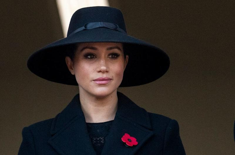 Meghan Markle attends the Remembrance Day service at Cenotaph.