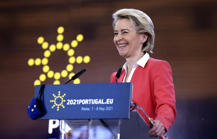 European Commission President Ursula von der Leyen speaks during a media conference at an EU summit in Porto, Portugal, Saturday, May 8, 2021. On Saturday, EU leaders held an online summit with India's Prime Minister Narendra Modi, covering trade, climate change and help with India's COVID-19 surge. (AP Photo/Luis Vieira)