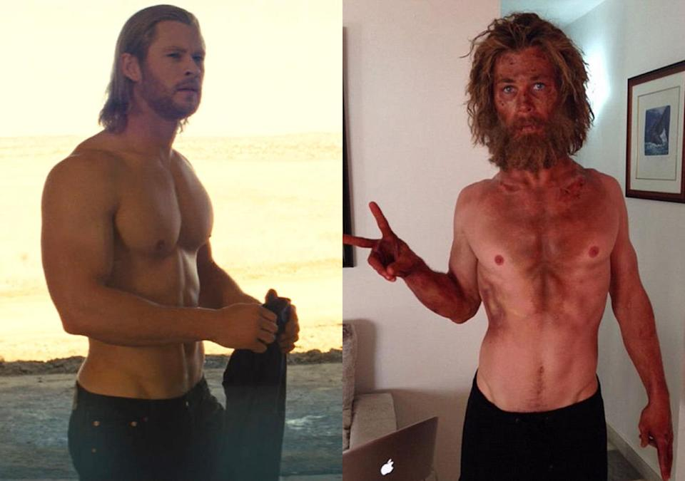<p>We're more used to seeing the Aussie star with the physique of a Norse god playing Thor in the Marvel movies, but he dramatically slimmed down to play a sailor lost at sea by eating just 500 calories a day.</p>