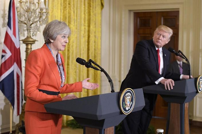 Britain's Prime Minister Theresa May speaks during a joint press conference with US President Donald Trump on January 27, 2017 (AFP Photo/MANDEL NGAN)