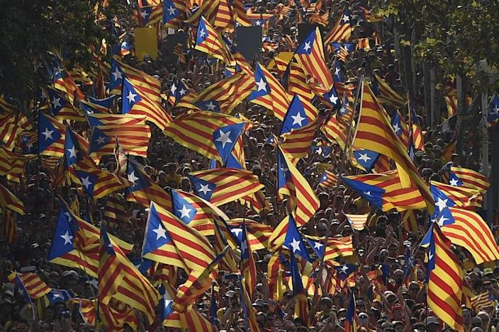 About 2.3 million of Catalonia's 7.5 million inhabitants took part in the 2014 vote with nearly 1.9 million voting in favour of independence (AFP Photo/Lluis Gene)